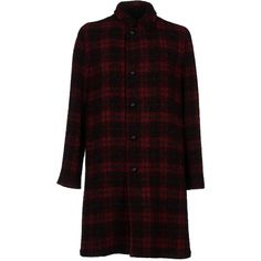 Mp Massimo Piombo Coat ($1,386) ❤ liked on Polyvore featuring men's fashion, men's clothing, men's outerwear, men's coats, maroon, mens plaid sport coat and mens single breasted pea coat