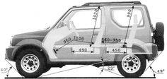 Основные размеры салона Suzuki Jimny