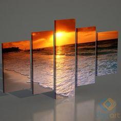5 Parçalı Deniz Sahili Kanvas Tablo