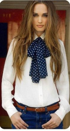 Dressed Formal In White Blouse With Bow And Blue Jeans Pants Blue Jean Outfits, Blue Jean Dress, Casual Outfits, Cute Outfits, Fashion Outfits, Womens Fashion, Blouse Outfit, Bow Tie Blouse, Bow Scarf