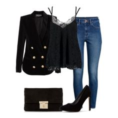 Black lace top+skinny jeans+black velvet pumps+black velvet blazer+black velvet clutch. Spring Dressy Casual/ Evening Going Out/ Night Date/ Party Outfit 2018