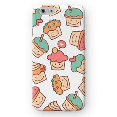 Cute Cupcakes on White iPhone Case by Madotta | This unique marble case is available for iPhones and  Samsung Galaxy S devices. Exclusive Design. Made with love in the UK. International shipping available. Chic iPhone 6s Cases and Covers #madotta See more at https://madotta.com/collections/all/?utm_term=caption+link&utm_medium=Social&utm_source=Pinterest&utm_campaign=IG+to+Pinterest+Auto