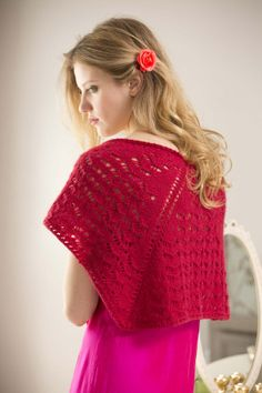 Free knitting instruction Lace Eyelet Shawl -- intermediate -- calls for Lion Brand's Cashmere yarn