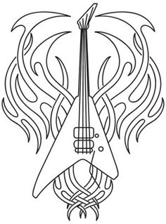 Tribal Guitar design from UrbanThreads Colouring Pages, Coloring Pages For Kids, Coloring Books, Adult Coloring, Hand Embroidery Patterns, Machine Embroidery, Embroidery Designs, Parchment Cards, We Will Rock You