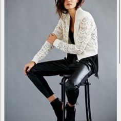 Free People lace crop jacket gently used crop jacket, off white color. Prices negotiable Free People Jackets & Coats
