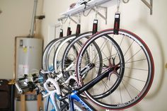 DIY Hanging Bike Rack for Multiple Bikes (good for a garage/basement/storage area)