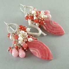 Rhodochrosite and pearls earrings