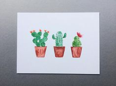 Three Cacti In A Row - Charity Watercolour Prints