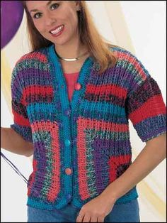 *Free Crochet Pattern: Amazing Accents Jacket: Crochet this beautiful jacket to be worn with jeans or dress slacks. Free Crochet Jacket Patterns, Crochet Cardigan Pattern, Free Pattern, Crochet Coat, Crochet Clothes, Crochet Sweaters, Crochet Yarn, Fingerless Gloves Crochet Pattern, Crochet Fashion