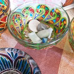 RichanaDragon ||| Glass salad bowls with the green curly pattern. Dinnerware for Summer outdoor serving. Rainbow colors ornamented candle holder for a tea light. Hand painted stained glass.