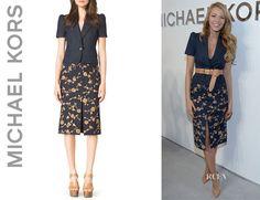 Blake Lively's Michael Kors Short-Sleeve Blazer And Michael Kors Embroidered Wool-Blend Skirt
