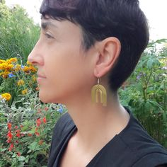 My favorite model wearing Double Arc Earrings Etsy, Drop Earrings, My Favorite Things, Shop, Model, How To Wear, Jewelry, Bohemian Look, Lobster Clasp