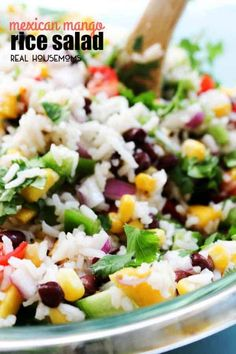 MEXICAN MANGO RICE SALAD is a fresh summer dish loaded with fresh veggies, mangoes then drizzled with a cumin vinaigrette. Easy, delicious and ready in Mexican Rice Salad Recipe, Rice Salad Recipes, Rice Recipes For Dinner, Mango Recipes, Mexican Food Recipes, Healthy Recipes, Healthy Salads, Healthy Eats, Easy Recipes