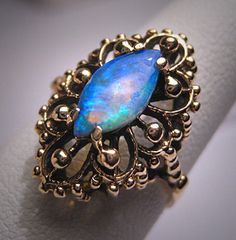 Antique Australian Opal Ring 14K Gold Vintage Victorian