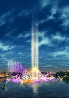 The Aquanura fountains at the Netherlands' historic Efteling theme park were built to celebrate the park's 60th anniversary in 2012. Made up of 200 fountains and 900 lights, all attached to a grid-like structure, the park's daily Aquanura water show combines light, water and fire and features a soundtrack composed by the Brabant Orchestra. It attracts 6,500 spectators per day.