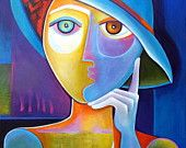 Cubism Abstract  Acrylic Original Painting on canvas Woman with a Hat Marlina Vera Fine Art Gallery Una Mujer con Sombrero Modern Artwork