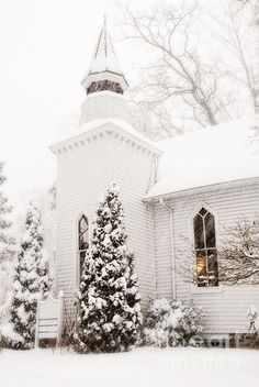 Love the look of a white church in the snow...with lights glowing in the windows! The glow is like God's welcome for us to  'come on in!'