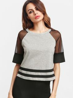 Shop Heather Grey Contrast Mesh Raglan Sleeve Striped Hem T-shirt online. SheIn offers Heather Grey Contrast Mesh Raglan Sleeve Striped Hem T-shirt & more to fit your fashionable needs. Mesh T Shirt, T Shirt And Shorts, Mode Outfits, Fashion Outfits, Fast Fashion, Fashion Online, T Shirts For Women, Clothes For Women, Casual T Shirts