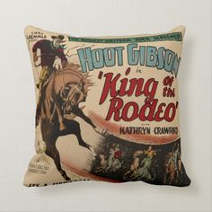 Western Cowboy Bronc Rider King of The Rodeo Throw Pillow - A sought-after design available to buy from rodeodays's store