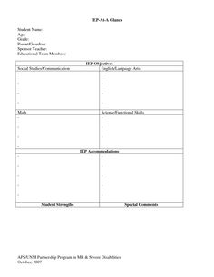 iep at a glance template - easy and simple free printable iep summary sheet for ecse
