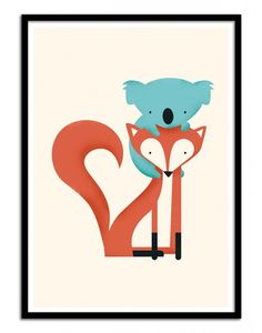 Art-Poster and prints Wall Editions : Baby Fox and Koala, by Jay Fleck. Illustration Format : 50 x 70 cm.