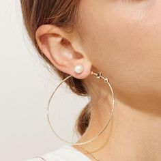Yellow Gold and Pearl 'Artemis' Hoop Earrings by Lucy Folk at Love Adorned - Lucy Folk - Designers Gold Hoop Earrings, Pearl Earrings, Fine Jewelry, Jewelry Making, Jewellery, Jewelry Design, Designer Jewelry, Vintage Shops, Studs
