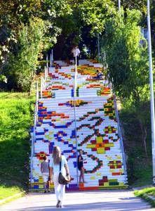 Stairway Art, Stairway To Heaven, Street Mural, Street Art Graffiti, Outside Steps, Art Du Monde, Sidewalk Art, Illusion Art, Norman Rockwell