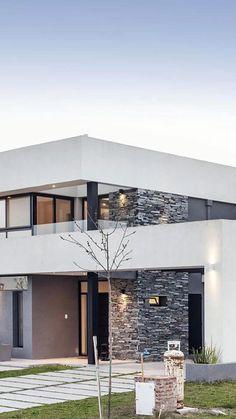 Modern House Facades, Modern Exterior House Designs, Modern Architecture House, Dream House Exterior, Modern House Plans, Modern House Design, Exterior Design, Modern Contemporary House, Modern Houses