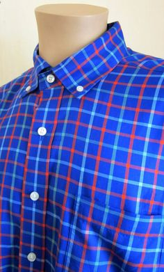 VINEYARD VINES Men's MURRAY Shirt Blue Green Red Check L Large WHALE #VineyardVines #ButtonFront