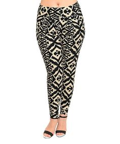 oooooh yes...Black & Ivory Geometric Pants - Plus by Shop the Trends #zulilyfinds