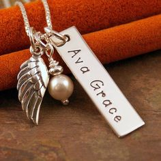 Hand Stamped Jewelry  Personalized Vertical by IntentionallyMe Angel Wing Vertical Tag (Infant / Child Loss)