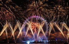 The Mayor's New Year's Eve fireworks display lights up the London Eye. January 1, 2013