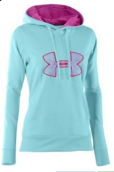 Under Armour® Women's Big Logo Hoodie (Color Cerise/Gray/Gray) {{want some more of these from Santa. I'm a hoodie n jeans kinda girl; Athletic Outfits, Athletic Wear, Sport Outfits, Athletic Style, Athletic Clothes, Fall Outfits, Under Armour Tenis, Under Armour Sweatshirts, Nike Sweatshirts