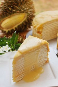 Durian coconut crepe cake with durian custard sauce