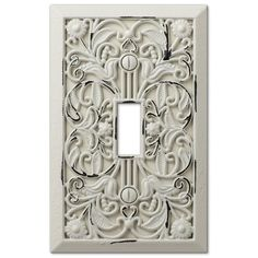 Filigree Antique White Cast - 1 Toggle Wallplate - Wallplate Warehouse