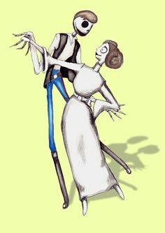 Star Wars Han Solo Princess Leia Jack And Sally Pen & Ink Acrylic Watercolor Print.