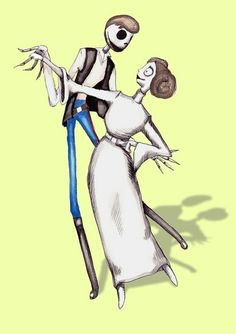 Star Wars Han Solo Princess Leia Jack And Sally Pen & Ink Acrylic Watercolor Print.