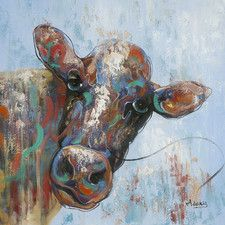 Curious Cow Painting Print on Canvas