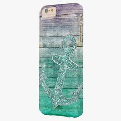 Cute iPhone 6 Case! This Girly Nautical Purple Aqua Anchor and Wood Look Barely There iPhone 6 Plus Case can be personalized or purchased as is to protect your iPhone 6 in Style!