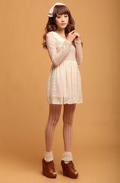 $30.83 Korean lapel lace dress