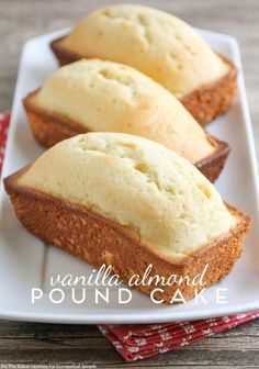 Vanilla Almond Pound Cake - An Easy Dessert Recipe by Somewhat Simple(Cake Recipes Easy) Mini Desserts, Just Desserts, Delicious Desserts, Dessert Recipes, Light Summer Desserts, Dessert Bread, Plated Desserts, Cupcake Recipes, Drink Recipes
