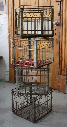 these are so cute! Could be perfect for the landing. Vintage Wire  Metal Milk Crates. $20.00, via Etsy.
