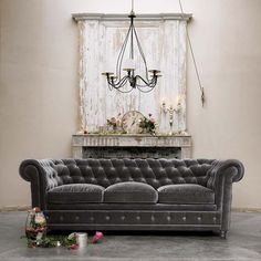 grey velvet tufted couch. i want a velvet couch for no other reason but to have a velvet couch. love.