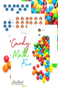 This printable will help make learning math more fun for your kids by using candy to work on math skills! #Candy #Math #CandyMath #Homeschool #Homeschooling #YearRoundHomeschooling #Printable Math For Kids, Fun Math, Homeschool Math, Homeschooling, Printable Cards, Free Printables, Free Math Apps, Learn To Count, Adding And Subtracting