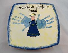 Grandma's Little Angel Handprint Platter --- I see a trip to the pottery place in our near future as we prepare for Christmas