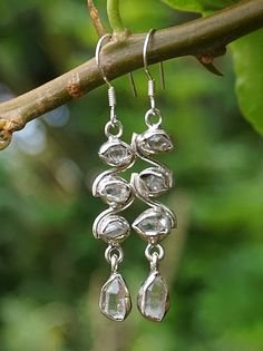 Gorgeous Handmade Jewelry Green Peridot Quartz Sterling Silver Overlay Earring 1.75