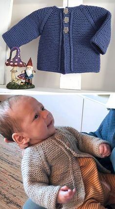 Knitting Pattern for Easy Balina Baby Cardigan - Perfect pattern for the confide. -Baby Vest , Knitting Pattern for Easy Balina Baby Cardigan - Perfect pattern for the confide. Knitting Pattern for Easy Balina Baby Cardigan - Perfect pattern f. Baby Cardigan Knitting Pattern Free, Baby Sweater Patterns, Knitted Baby Cardigan, Knit Baby Sweaters, Easy Knitting Patterns, Knitting For Kids, Baby Patterns, Sweaters For Babies, Baby Boy Cardigan