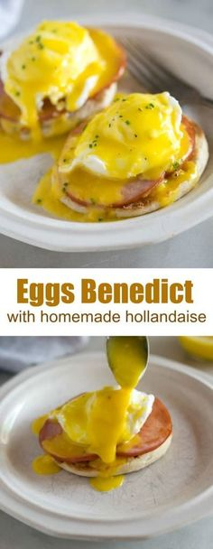 Eggs Benedict with homemade Hollandaise Sauce, Food And Drinks, Eggs Benedict is my favorite breakfast menu item, and it's super easy to make from home! It starts with a toasted english muffin, topped with a slice. Egg Recipes, Sauce Recipes, Brunch Recipes, Cooking Recipes, Healthy Recipes, Dinner Recipes, Breakfast Dishes, Breakfast Time, Best Breakfast