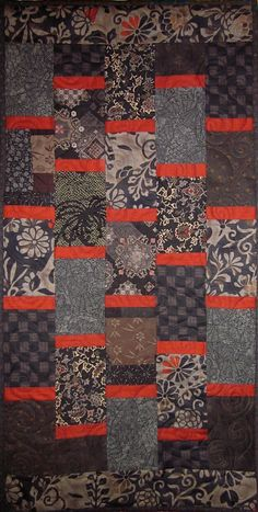 Patchwork Quilt - black and red Japanese Bars wall hanging. $90.00, via Etsy.