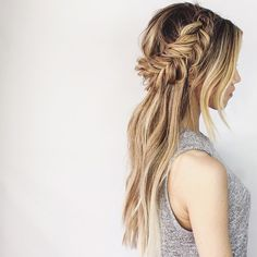 Upside-down thick milkmaid braid